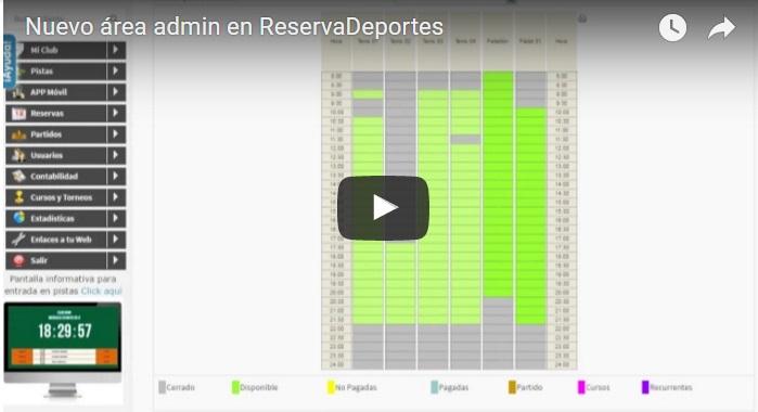 novedades admin reservadeportes